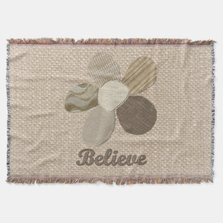 Believe Inspirational Flower Fabric Collage Throw Blanket
