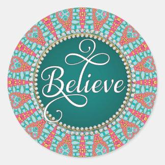 Believe : Inspire : Aqua Teal Coral Mandala Circle Round Sticker
