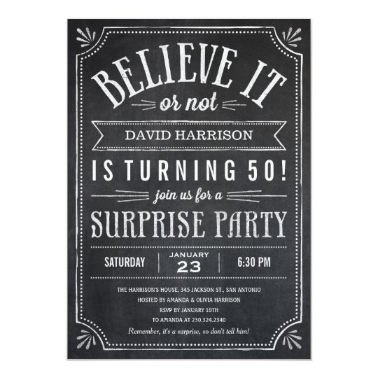 Believe it or Not Surprise Birthday Invitations