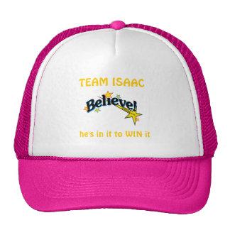 Believe-logo, TEAM ISAAC, he's in it to WIN it Trucker Hat