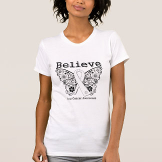 Believe - Lung Cancer Butterfly T-Shirt