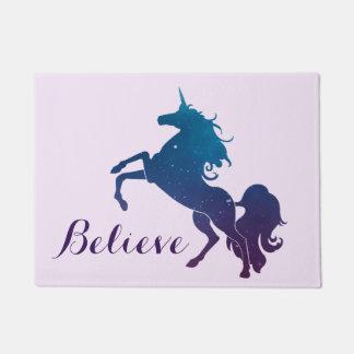 Believe | Magical Purple and Blue Rearing Unicorn Doormat