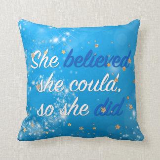 Believe Motivational Quote   Typography Script Throw Pillow