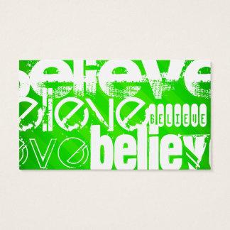 Believe; Neon Green Stripes Business Card