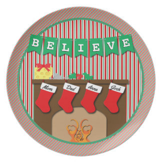 Believe • Night Before Christmas • 4 Stockings Dinner Plates