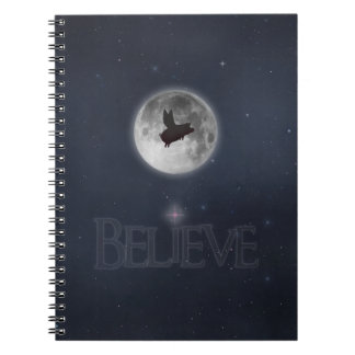 Believe-Nocturnal Flying Pig Spiral Notebook