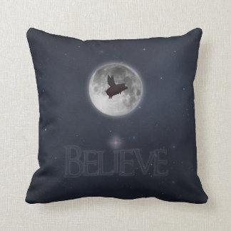 Believe-Nocturnal Flying Pig Throw Pillow