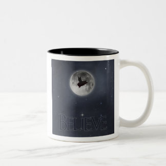 Believe-nocturnal flying pig Two-Tone coffee mug