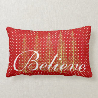 Believe on Red Dots Christmas Lumbar Throw Pillow