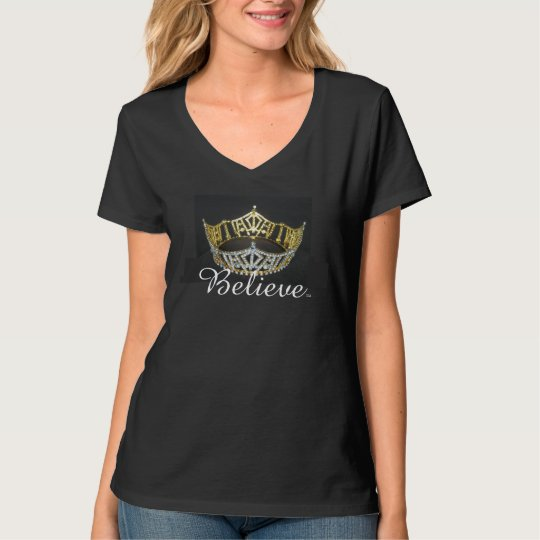 Believe Pageant Crown Top-Black T-Shirt