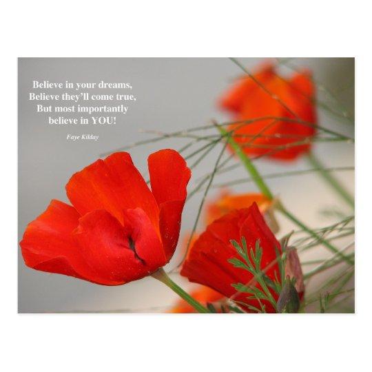 Believe Poem Red Poppy Postcard Zazzle