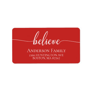 Believe Red Holiday Address Label