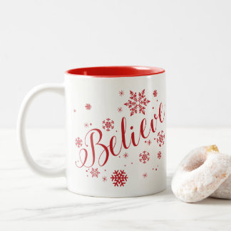 """Believe"" Snowflake Holiday Graphic Mug, Red Two-Tone Coffee Mug"