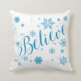 """""""Believe"""" Snowflake Holiday Graphic Pillow, Blue Throw Pillow"""