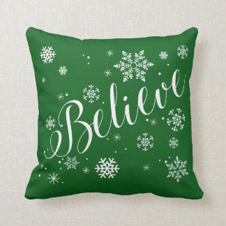 """""""Believe"""" Snowflake Holiday Graphic Pillow, Green Throw Pillow"""