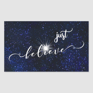 Believe Starry Night Sky Calligraphy Sticker