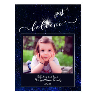 Believe Starry Night Sky Photo and Calligraphy Postcard