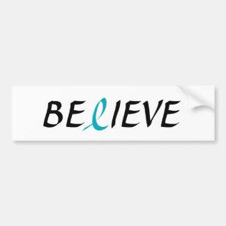 BELIEVE Teal Ribbon for Ovarian Cancer Awareness Bumper Sticker