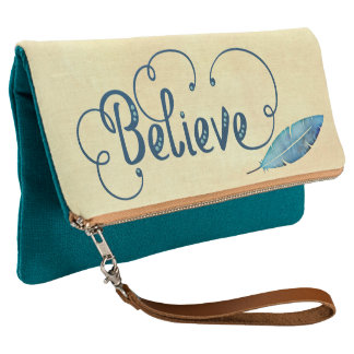 Believe Typography Feather Watercolor Teal  Blue Clutch