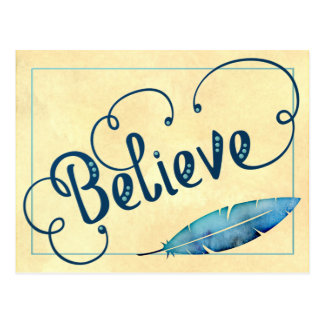 BELIEVE Typography Teal Blue Yellow Watercolor Postcard