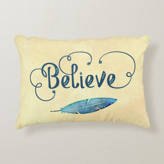 Believe Typography Watercolor Feather Blues Yellow Accent Pillow