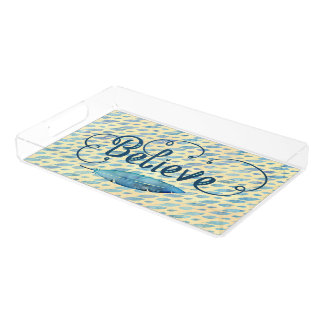 Believe Typography Watercolor Feather Blues Yellow Acrylic Tray