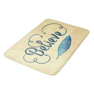 Believe Typography Watercolor Feather Blues Yellow Bath Mat