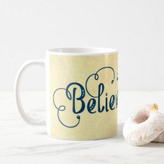 Believe Typography Watercolor Feather Blues Yellow Coffee Mug