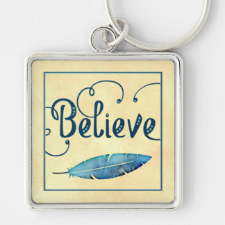 Believe Typography Watercolor Feather Blues Yellow Keychain