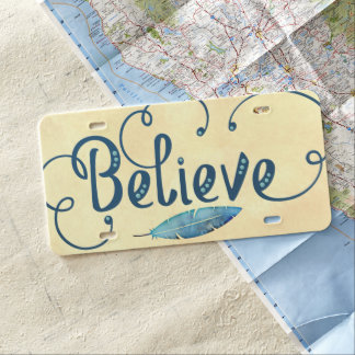 Believe Typography Watercolor Feather Blues Yellow License Plate