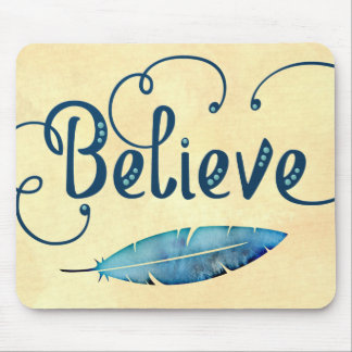 Believe Typography Watercolor Feather Blues Yellow Mouse Pad