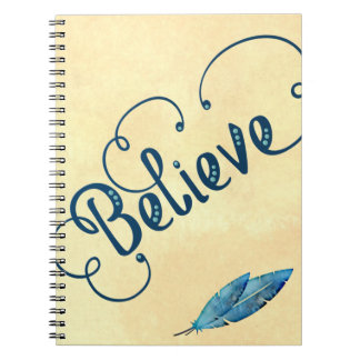 Believe Typography Watercolor Feather Blues Yellow Notebooks
