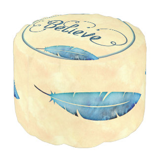 Believe Typography Watercolor Feather Blues Yellow Pouf