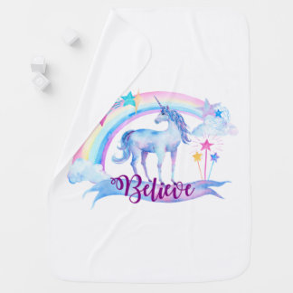 Believe / Unicorn Baby Girl's Nursery Swaddle Blanket
