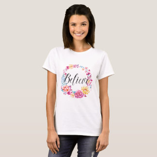 Believe Watercolor Pink Floral Wreath T-Shirt