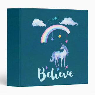Believe with a Unicorn Under a Rainbow Binders