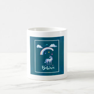 Believe with a Watercolor Unicorn Under a Rainbow Coffee Mug