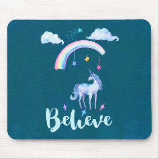 Believe with a Watercolor Unicorn Under a Rainbow Mouse Pad