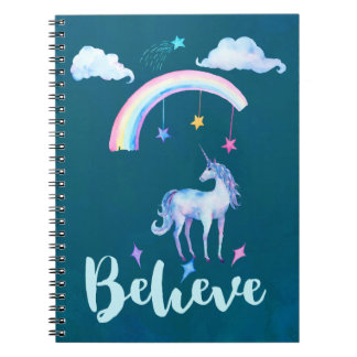 Believe with a Watercolor Unicorn Under a Rainbow Spiral Notebook