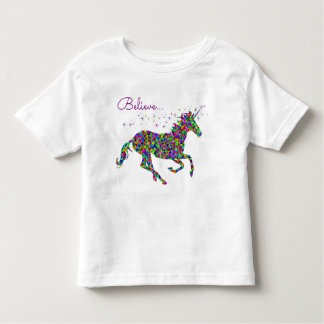 Believe with Colorful Unicorn Toddler T-Shirt