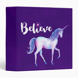 Believe with Unicorn In Pastel Watercolors 3 Ring Binders