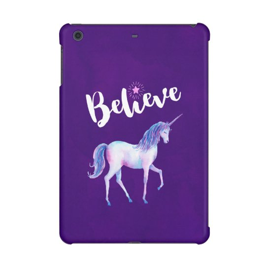 Believe with Unicorn In Pastel Watercolors iPad Mini Retina Case