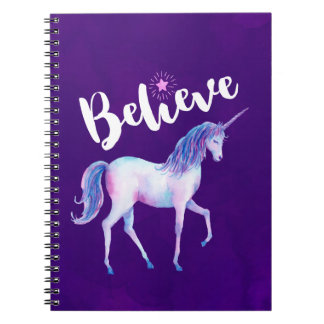 Believe with Unicorn In Pastel Watercolors Note Books