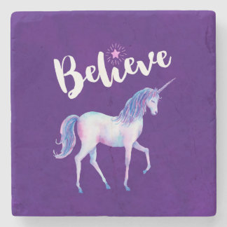 Believe with Unicorn In Pastel Watercolors Stone Coaster