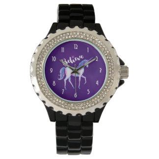 Believe with Unicorn In Pastel Watercolors Watch