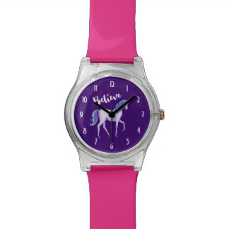 Believe with Unicorn In Pastel Watercolors Wrist Watch