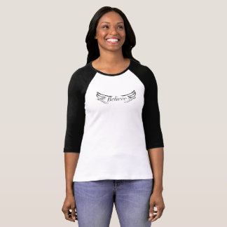 Believe with Wings.  Woman's 3/4 Sleeve T-Shirt