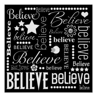 Believe Word Art Text Design Poster