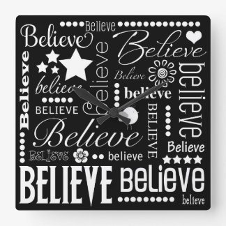 Believe Word Art Text Design Square Wall Clock