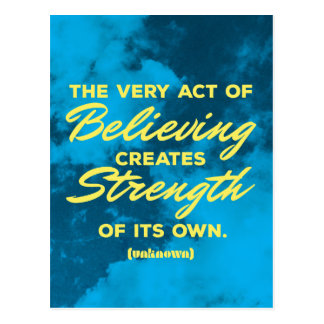 'Believing' inspirational quote postcard
